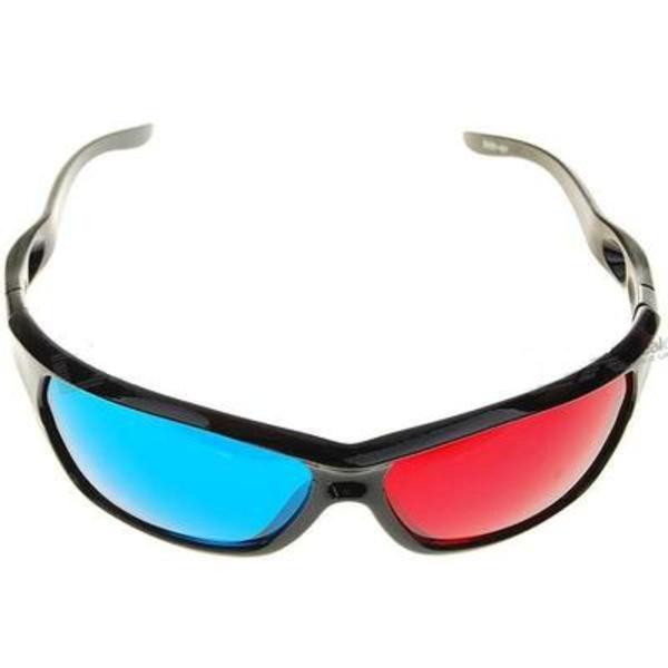 Пластиковые Анаглифные 3D очки,  синий + красный